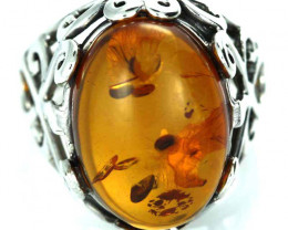 UNISEX AMBER  SILVER 6 RINGS SIZE 31.90 CTS [SJ1453]