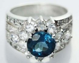 LONDON BLUE TOPAZ  GEM STONE 9 RING SIZE 47.70 CTS [SJ1462]