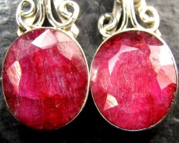LARGE RUBY S SET SHEPPARD EARRINGS  SILVER  MYG 1325