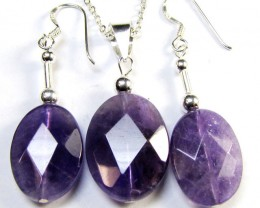 SET AMETHYST PENDANT  AND EARRINGS 39 CTS MYG 1351