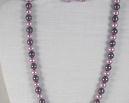 PEARL PINK AND GREY BEADED NECKLACE WITH MATCHING EARRINGS
