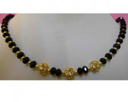 Excellent Beaded Design NEW Women Black Cryst Beads Necklace