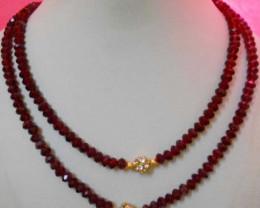 2Lines FineRed crystal Necklace Beaded&Metal work  Design