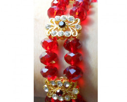 Quality Crystal  Quartz Beads 2 Row Bracelet Handmade design
