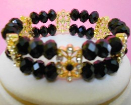 Quality Crystal Black  Beads 2 Row Bracelet Hand design