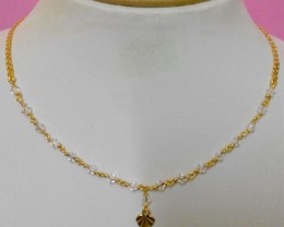 Slim Link design Goldplated white Crystal Chain Necklace