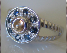 Topaz Sapphire Sterling White Gold over laid Ring Size 6.5