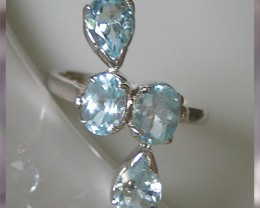 Stunning water-drop Blue Topaz Sterling Silver Ring Sz7.5