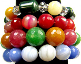 FOUR COLOURFUL AGATE BRACELETS  844 CTS  RT23