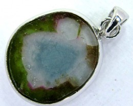 WATERMELON TOURMALINE SILVER PENDANT 14.90 CTS  AS-A3840