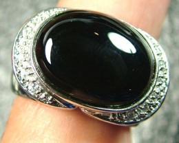 BLACK ONYX  SILVER RING  43 CTS  SIZE- 7.5   RJ-62
