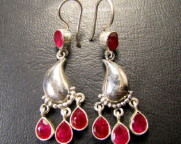 CLUSTER STYLE AFRICAN RUBY 925 SILVER EARRINGS RT176