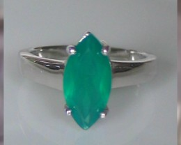 A Striking Size 8 Glowing Green Aventurine Sterling Silver R