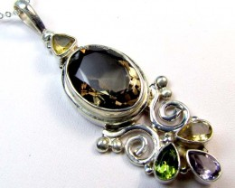 MIXED GEMSTONE SILVER PENDANT 77.45 CTS MGMG 48