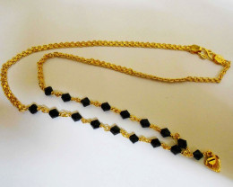 Slim Link design Goldpolished BALCK Crystal Chain Necklace