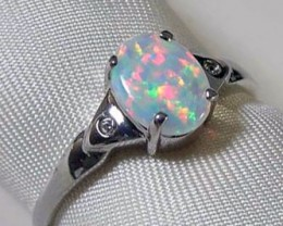 925 SILVER RING MULTI COLOR SIMULANT CRYSTAL OPAL #SR/139