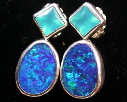 15.25 CTS DOUBLET OPAL/CHAL EARRING-FACTORY DIRECT [SJ2173]