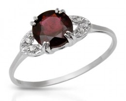 GENUINE DIAMONDS AND RHODOLITE GARNET SS RING  SZ 9