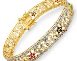 GENUINE EMERALDS, RUBIES, SAPPHIRES IN 14K gold overlay