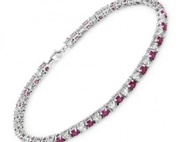 RUBY AND TOPAZ BRACELET - 925 STERLING SILVER