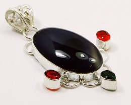BLACK STRIPPED ONYX .92 Silver Pendant : 62 mm,NR