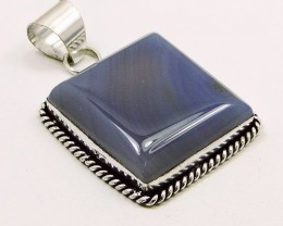 Lovely STRIPPED ONYX & .92 Silver Pendant: 50 mm,NR