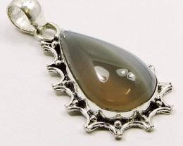 Lovely STRIPPED ONYX & Silver Pendant : 50 mm,nr