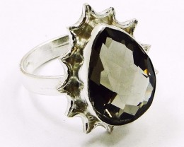 Lovely SMOKY QUARTZ & Silver Rings Of UK Size: R & US: 8.5