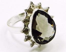 Lovely SMOKY QUARTZ & Silver Rings Of UK Size: R & US: 8.5
