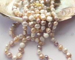 BEAUTIFUL NATURAL BAROQUE MULTICOLOR PEARL NECKLACE 38""