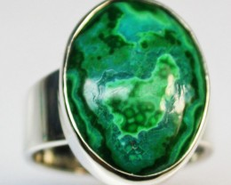 6.5 RING SIZE MALACHITE AZURITE SILVER RING [SJ2276]