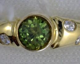Australian Sapphire with Garnet set in 14Ct Gold