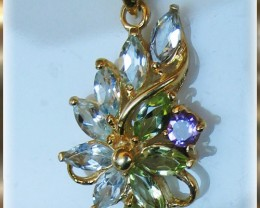 Superb Glittering Topaz, Peridot Amethyst Flower Pendant 14K