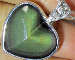 28 CTS MEXICAN CHATOYANT OBSIDIAN S/S PENDANT AGR 151