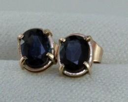 NEW Natural Australian Sapphires set in Gold Earrings