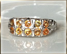 Glorious Golden Yellow Sapphire Sterling White Gold Ring