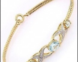 2.79 Ct Blue Topaz & Diamond Fine Designer Bracelet $585
