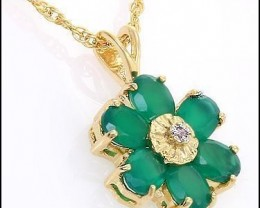 $1 No Reserve! 3.55 CT Emerald & Diamond 18K Necklace $465