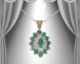 Fine Jewelry 3.39 CT Emerald & Diamond Designer Necklace $610