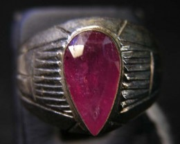 NATURAL  RUBY IN TIBETAN  RING  SIZE 8   11102