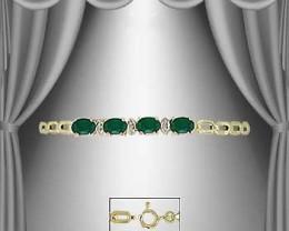 $1 No Reserve! 3.89 CT Emerald & Diamond 18K Bracelet  $435