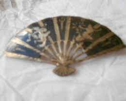 ANTIQUE PIN / BROOCH ASIAN FAN STERLING SILVER FROM SIAM NR