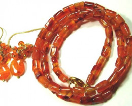 CARNELIAN BEAD NECKLACE EARRING   76.5 CTS AS-AB 101
