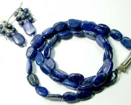 LAPIS BEAD NECKLACE EARRING   96 CTS AS-AB 104