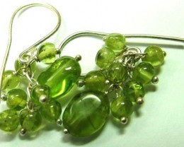 PERIDOT BEAD NECKLACE EARRING  61  CTS AS-AB 108