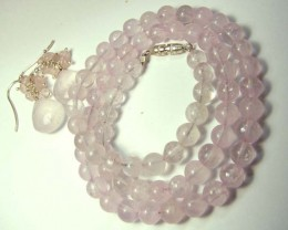 ROSE QUARTZ BEAD NECKLACE EARRING   134 CTS AS-AB 109