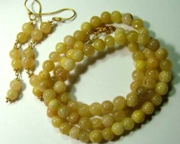YELLOW JADE BEAD NECKLACE EARRING   115 CTS AS-AB 112