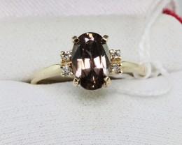 New Australian Natural Brown ZIRCON + Diamonds18Ct Gold Ring