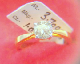 NATURAL-SOLITIARE-14K-YELLOW GOLD DIAMOND RING- 1PCS,NR