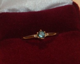 FANTASTIC BLUE DIAMOND RING  SIZE 8